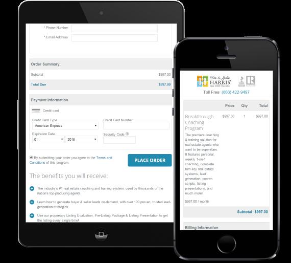 Tim and Julie Harris InfusionSoft order form mobile details