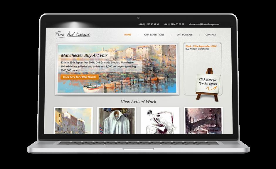 Fine Art Escape showcase laptop