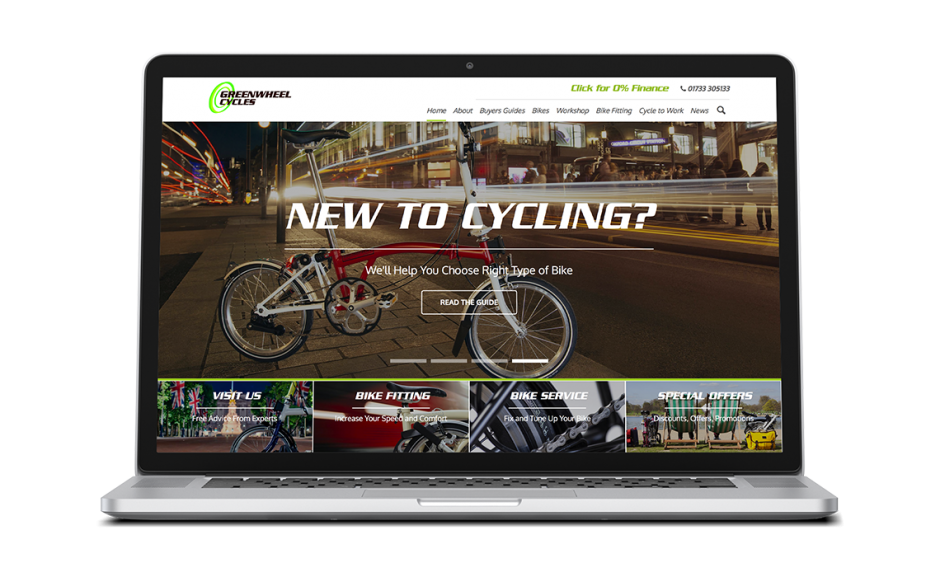Greenwheel Cycles showcase Home page