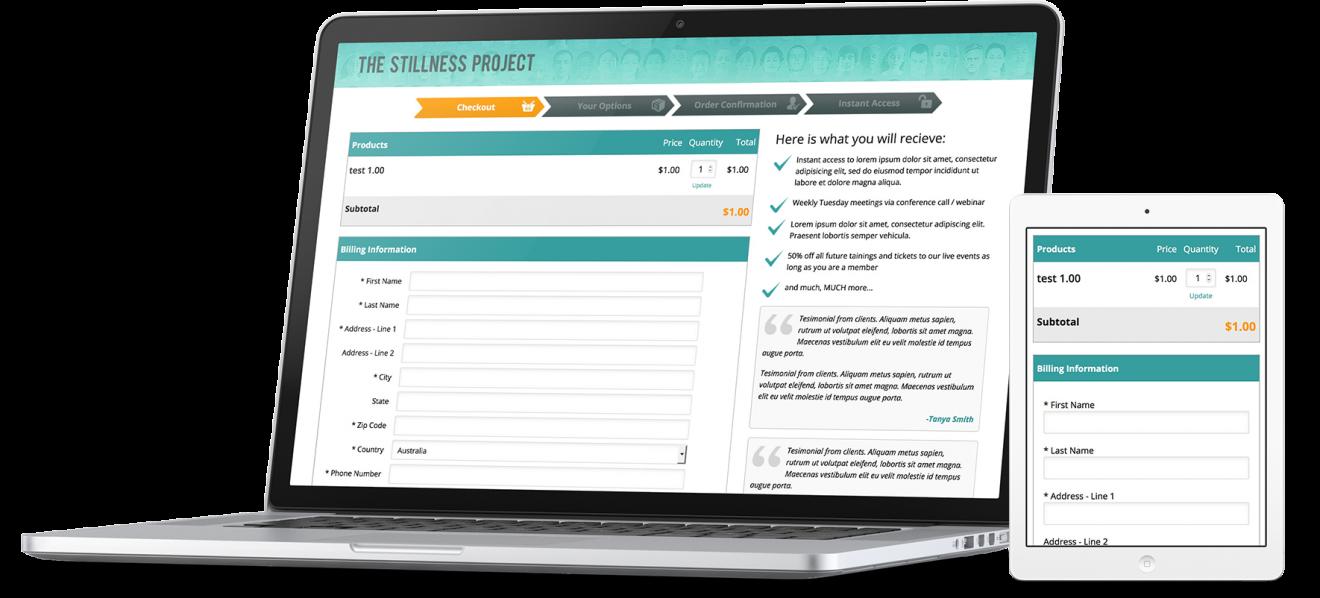 Stillness Project InfusionSoft styling showcase