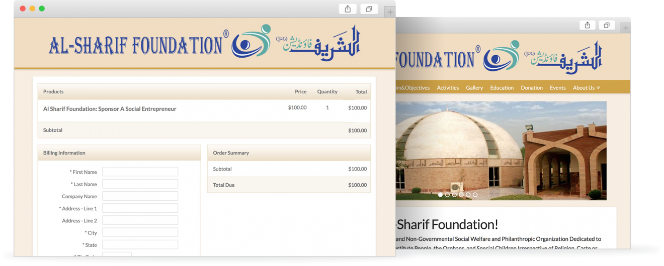 Al-Sharif Foundation styled InfusionSoft checkout