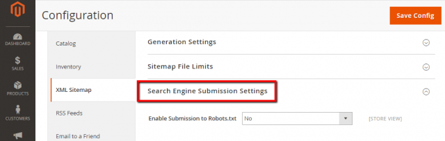 Search Engine Submission Settings