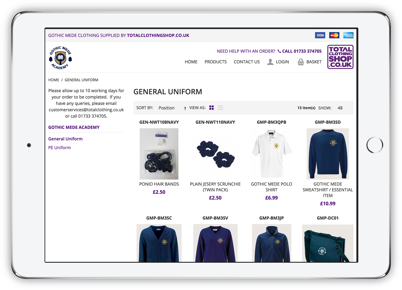 Total Clothing Shop Category Page
