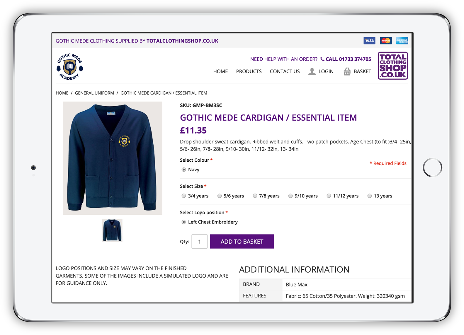 Total Clothing Shop Product Page