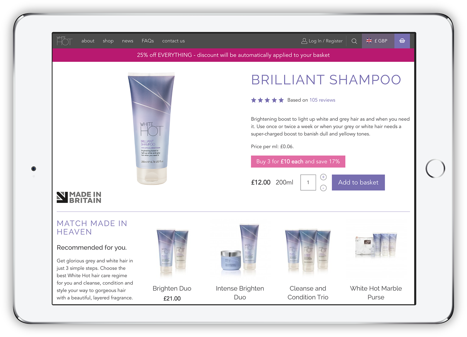 White Hot Hair product page