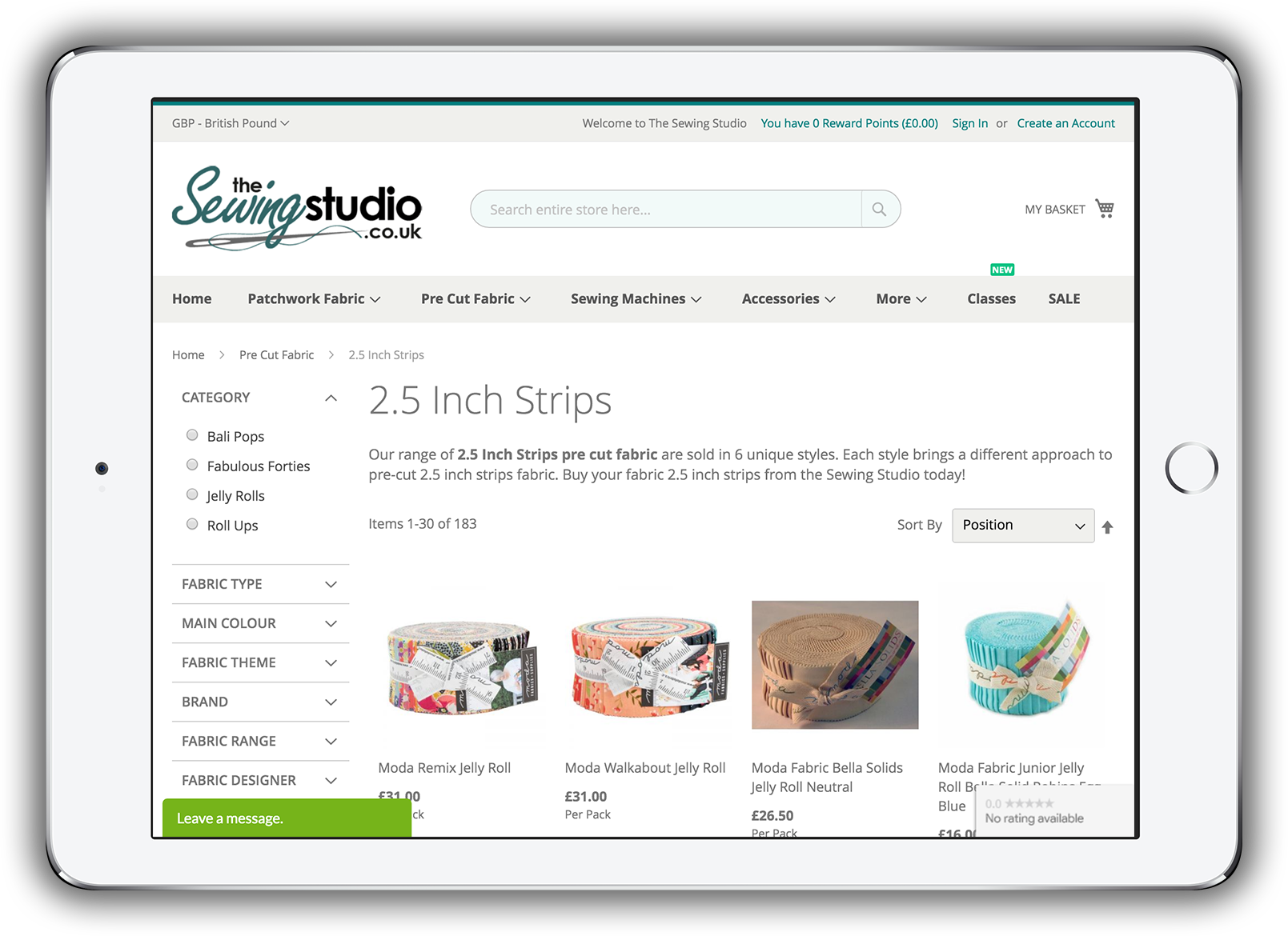 The Sewing Studio - Category Page