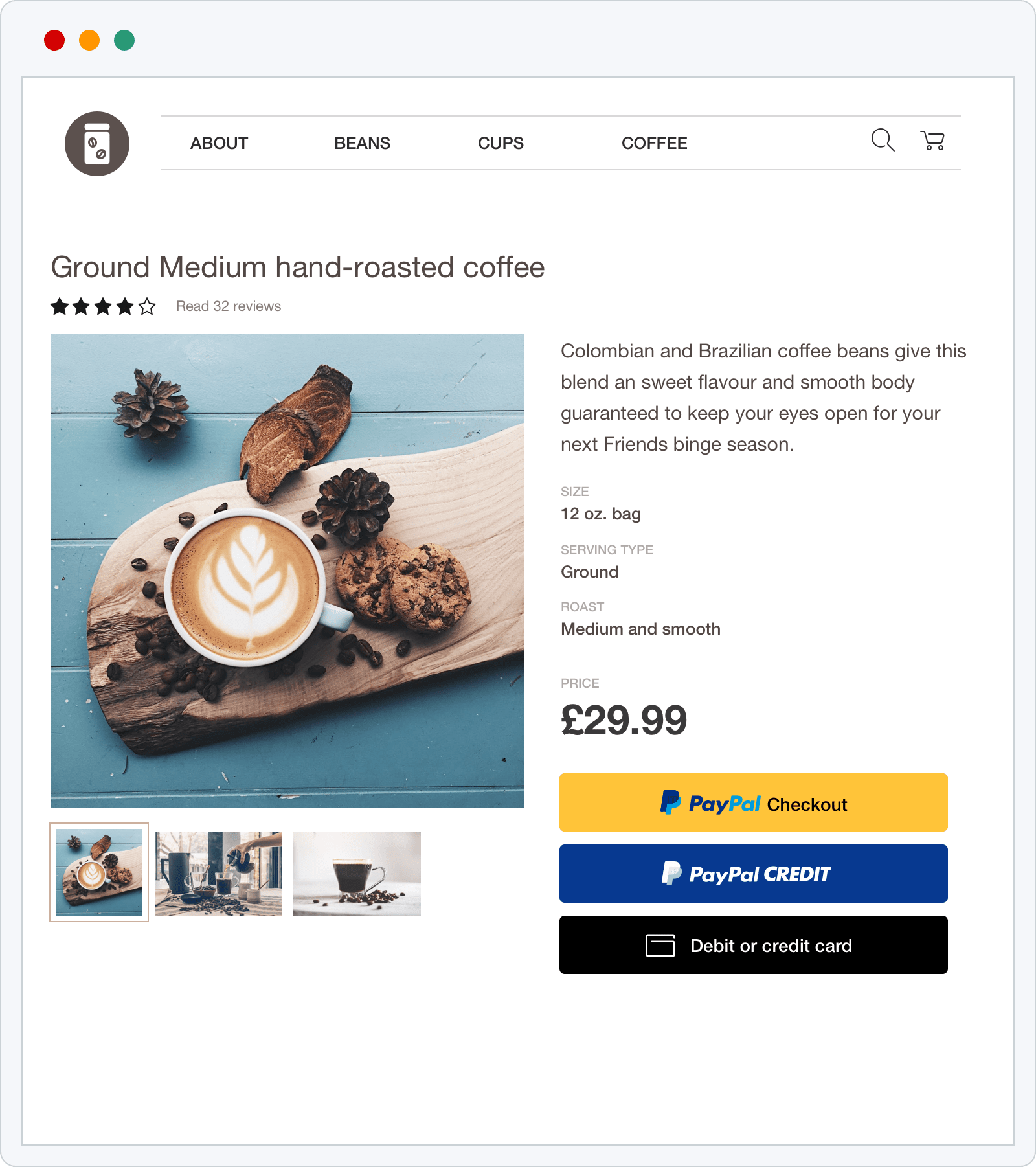 Paypal Integration Product page